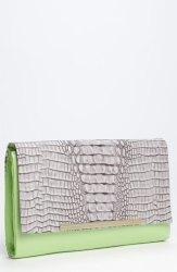 Diane Von Furstenberg Adele Embossed Crocodile Clutch