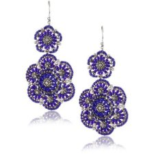 Miguel Ases Blue Bead and Sterling Silver Dbl Flower Drop Earring