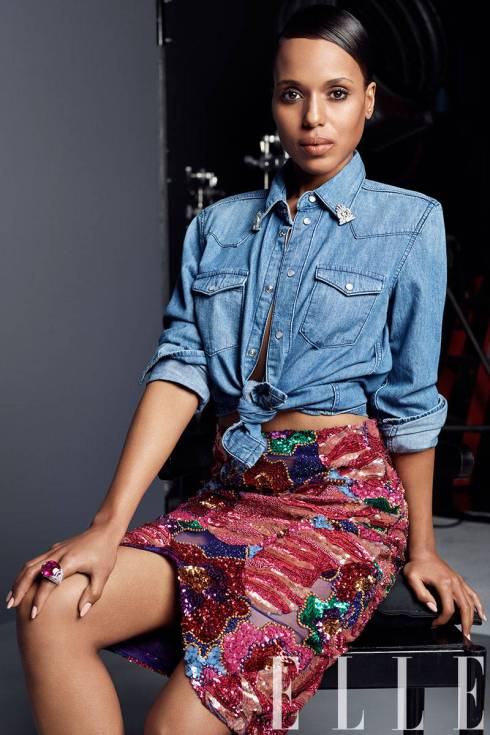 Kerry's  denim shirt by BLK DNM, Skirt by Tom Ford