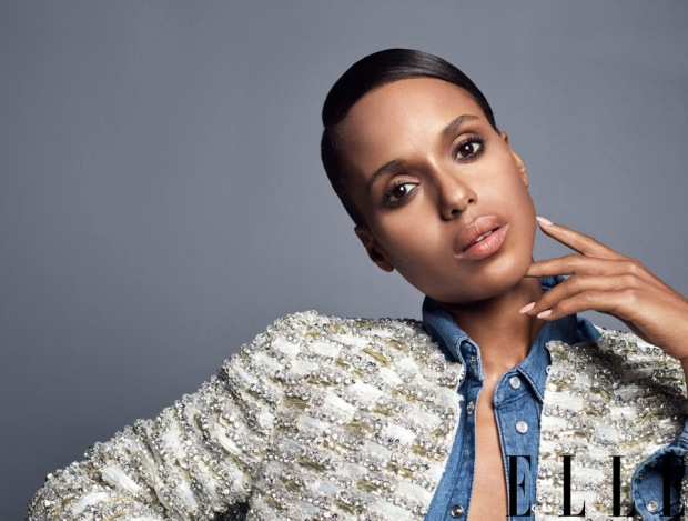 Kerry in an embroidered tweed jacket by Giambattista Valli and Denim Shirt by BLK DNM