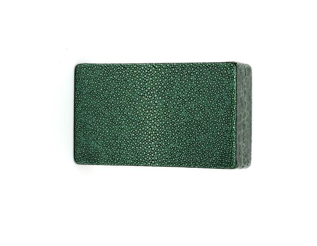 Emerald Shagreen Box Clutch